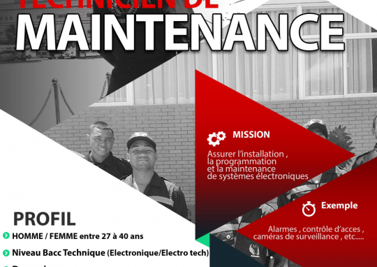 Recrutement Technicien de maintenance